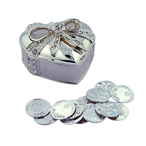 (Arras De Boda Gift Set | Comes with Coins | 9 Styles | Wedding Metal Boxes Spanish Matrimony Ceremony (Heart Shaped with Bow))