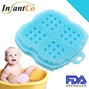 InfantCo Anti-bacterial FDA-approved Ultra Soft Baby Bath Silicone Scrubber Sponge, Foam Rub Microwave or Boil Water Sterilizing (Blue)