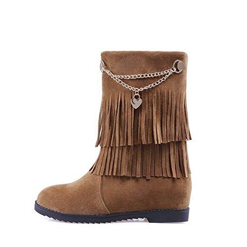 Allhqfashion Womens Pull-on Kitten-heels Imitato Boots In Pelle Scamosciata Rigida Marrone