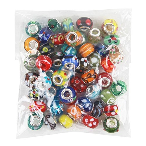 NYKKOLA 50 Piece Lot Lampwork Murano Glass European Mix Beads- Compatible with Most Major Charm -