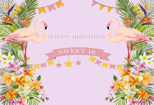 MEHOFOTO Photography Backdrops Flamingo Themed Colorful Flowers Sweet 16 Birthday Party Decoration Backgrounds 7x5ft