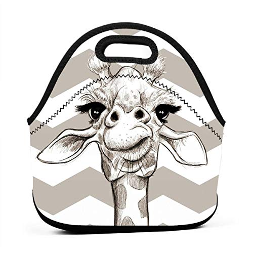 (Pattonef Sketch Giraffe Animal Background Illustration Personalized Neoprene Bento Bag Waterproof Men and Women for Working Picnic Trip)