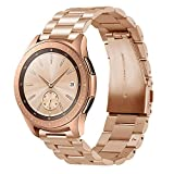EloBeth Compatible Samsung Galaxy Watch 42mm Bands, 20mm Solid Stainless Steel Metal Business Replacement Bracelet Strap with Tool for Samsung Galaxy Watch SM-R810/R815 Smart Watch 42mm(Rose Gold) For Sale