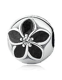 PAHALA 925 Strling Silver Floral Clip Crystals Black Enamel Charms Pendant Fit Bracelets Necklace