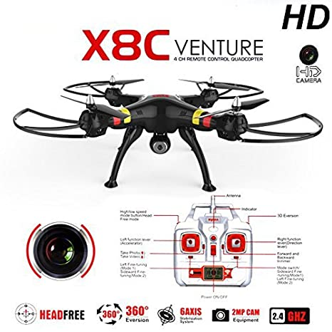 SYMA X8C 2.4G 4CH 2.0MP HD Camera 6-Axis Gyro RTF RC Quadcopter ...