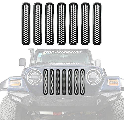 opar Black Front Grille Clip-in Mesh Inserts for 1997-2006 Jeep Wrangler TJ & Unlimited (Pack of 7)