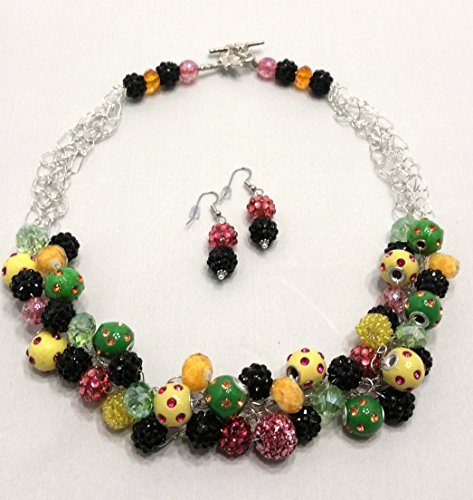 Mardi Gras Crochet Necklace and Earrings
