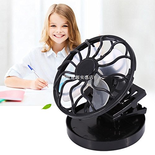 Electric Mini Clip-on Solar Fan Air Conditioner Cooling Cell Fan For Travel Camping Hiking Cooling Outdoor Fishing Air Cooler(Black) by SL&LFJ