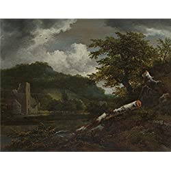 Polyster Canvas ,the Vivid Art Decorative Prints On Canvas Of Oil Painting 'Jacob Van Ruisdael A Landscape With A Ruined Building ', 8 X 10 Inch / 20 X 26 Cm Is Best For Home Theater Decor And Home Artwork And Gifts