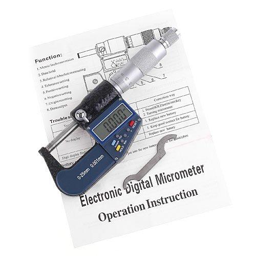 KKmoon LCD Micromètre Electronique Numérique de Haute Précision, Micromètre Palmer d'Extérieur Standard, Métrique/Pouce, Set Outil Pour Machiniste, Résolution 0.001 mm Pr&eacut good