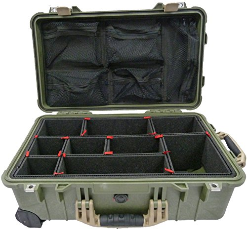 """Price comparison product image Green & Tan """"Colors"""" series case Pelican 1510 case with TrekPak divider system & 1519 Lid Organizer."""