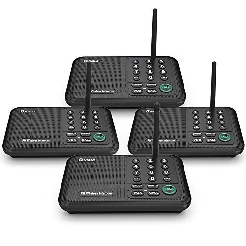 Qniglo Wireless Intercom System, 1/2 Mile Long Range FM 10 Channel Business Intercoms System for Home and Office (4 Stations, Black)