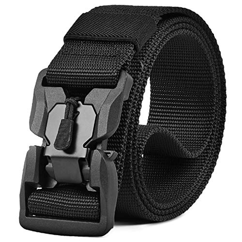 WHIPPY Tactical Belt with Magnetic Quick-Release Buckle Military Style Nylon Webbing Riggers Belt for Men Black Small