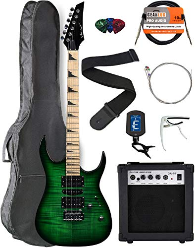 Vault RG1-E Nebula Green Burst Electric Guitar with Maple Neck Bundle with Gig Bag, 10w Amp, Strap, Tuner, Strings, Instrument Cable, Capo, and Picks