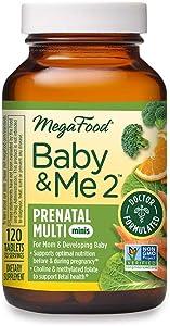 MegaFood, Baby & Me 2 Prenatal Multi Minis, Prenatal and Postnatal Vitamin with Iron, Choline and Active Form of Folic Acid, Non-GMO, 120 Tablets