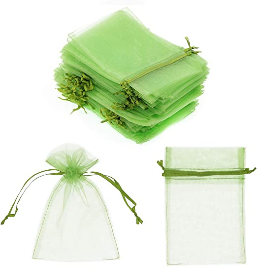 """100Pcs Gift Bags 4/""""x6/"""" Sheer Drawstring Organza Jewelry Pouches Wedding Party"""