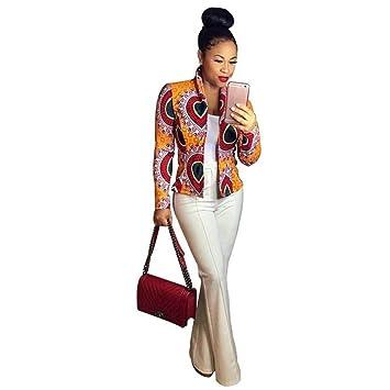 0071c406e9a9f ZHRUI Veste Décontractée Courte Dashiki Imprimé Africain à la Mode Femme  (coloré : Jaune,