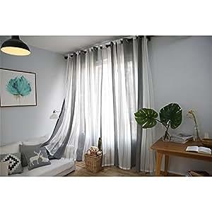 Ventana Cortinas visillos Cortinas Paneles para Sala Cuarto Dormitorio  Comedor, Salon Cocina Cortinas de Lino, 100 x 250 cm (1 pcs cortina grises  y ...