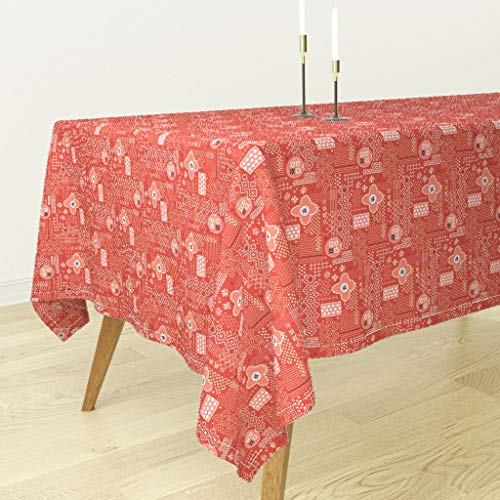 - Red Fauxboro Tablecloth - Embroidery Geometric Japanese Thread Yarn Stitch Collage Abstract by Pennycandy - Cotton Sateen Tablecloth 70 x 120
