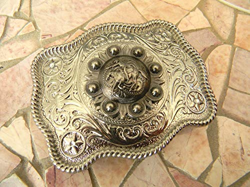 Horseback Riding Cowboy Silver Belt Buckle, Horse Buckle, Womens Mens Kids Western Concho (Wrangler Concho Belt)