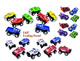 Charmed 24 assorted Pull Back Vehicles including Racer Cars, big wheel police trucks and pick up trucks