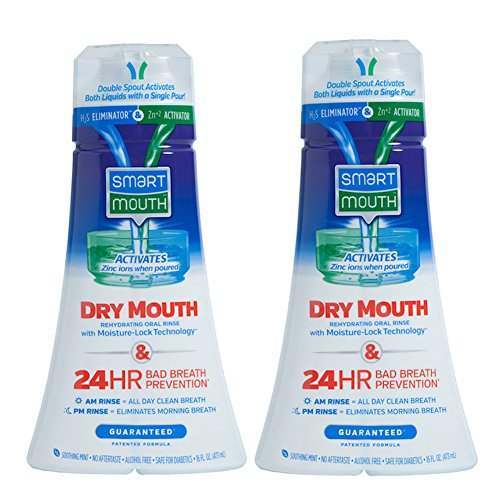 [SmartMouth Dry Mouth Mouthwash, Re-hydrating Oral Rinse for Dry Mouth and Bad Breath, Mint Flavor, 16 ounces (2 Pack)] (Medications Dry Mouth)