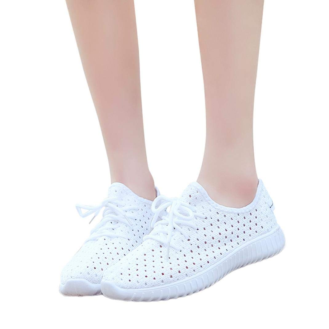 vermers Clearance Women Outdoor Mesh Shoes - Women Casual Lace up Comfortable Soles Running Sports Shoes(US:8.5, White)