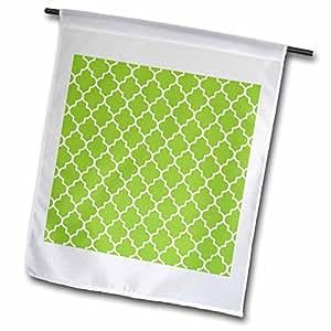3dRose fl _ 120258_ 1brillante verde azulejos patrón Lima de azulejos marroquíes Retro Arte Islámico blanco geométrico Clover enrejado jardín bandera, 12por 45,72cm