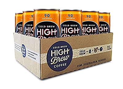 High Brew Cold Brew Coffee - Salted Caramel 8 Fl Oz (12 Count) Grab & Go Pre-Made Cold Brew Direct Trade Coffee Low-Acidity Caffeine Drink