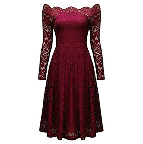 Shoulder Long Lace Vintage Formal Dress Off Kangma Dress Women Red Wine Evening Party Sleeve qxTwzWtI1