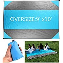 SWONUK Picnic/Beach Blankets Oversized 9'x10' Outdoor Pocket Blanket for Men and Women Durable Water-resistant Sand-proof Beach Mat for Festivals, Camping, Picnics, Gathering Mat with 4 Anchors