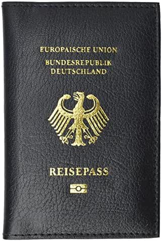 Genuine Leather Passport Wallet, Cover, Credit Card Holder with German Emblem Imprint for International Travel