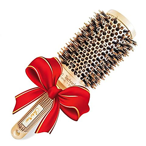 Brazilian Blow Dry Round Vented Hair Brush with Natural Boar Bristles for Blowouts with Volume - Professional Salon Styling Brush for Healthy Shiny Frizz-Free Hair, Straight or Curl (2 inch)