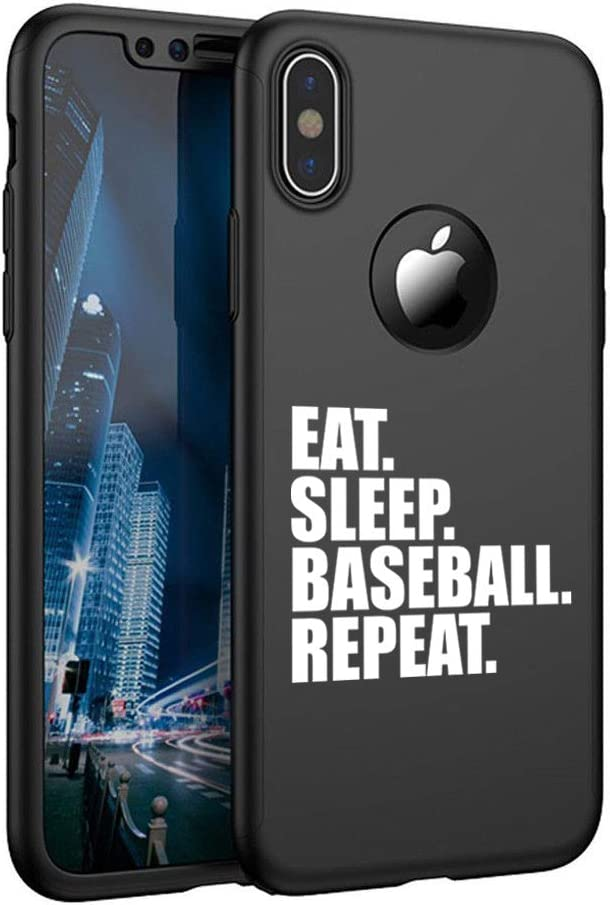 360/° Full Body Thin Slim Hard Case Cover Tempered Glass Screen Protector for Apple iPhone Eat Sleep Baseball Repeat Black, for Apple iPhone XR
