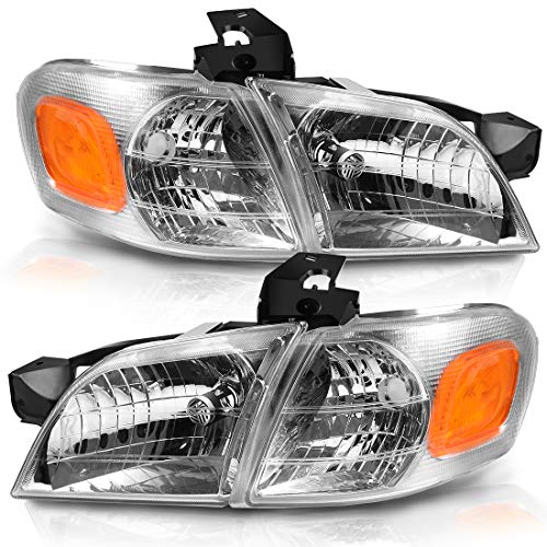 For 1997-2005 Chevy Venture Headlight Replacement Chrome Housing Amber Reflector with Corner Lights (Driver and Passenger Sides)