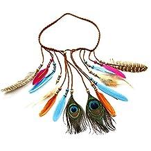 Handmade Feather Boho Chic Colorful Feather Peacock Tassels Headband, Peacock Feather Head Chain, Adjustable Length