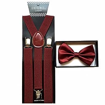 71fce7d96484 Amazon.com: Brand New 2015 Burgundy Unisex Adult Fashion Suspenders ...