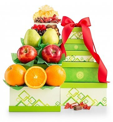 GiftTree Fresh Fruit From the Orchard Tower Gift Set - 5 Gift Boxes Loaded with Premium Fresh Fruits, Dried Fruits, Savory Nuts, and Candies - Thinking of You, Birthday Gift, or Sweet Thank You