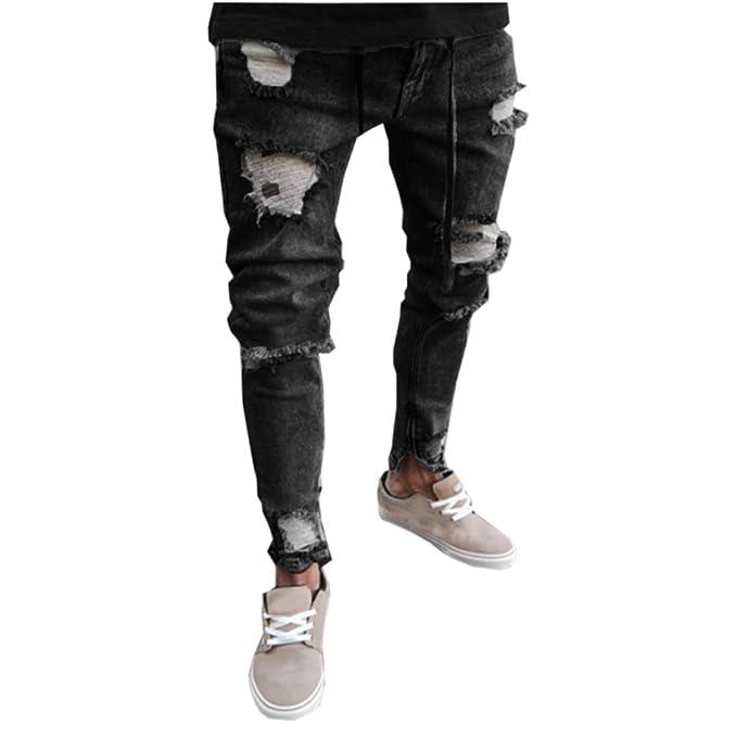 1cb9b942b8a624 KOLY Uomo Pantaloni Skinny Elasticizzati in Denim Sportiva Jeans con  Cerniera Buco da Uomo Jeans da Uomo Slim Jeans con Cerniera Pantaloni  Sfilacciati ...