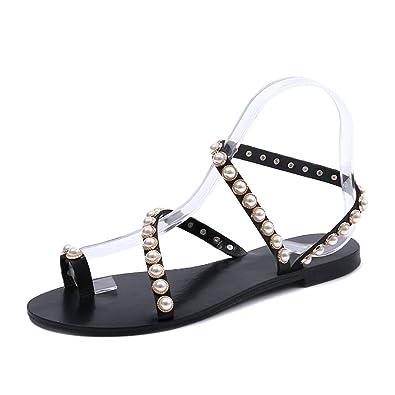 7af1ceb8554eb2 Btrada Women s Clip Toe Bohemian Flats Sandals Summer Fashion Pearl Beach  Flip-Flops Dress Shoes