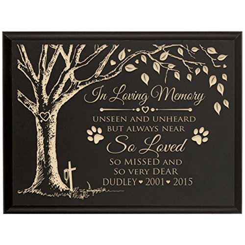 LifeSong Milestones Personalized Pet Memorial Gift, Sympathy Wall Plaque, In Loving Memory Unseen and Unheard But Always Near, Custom Engraved Plaque measures 6x8 (Black) - Black Cherry Outdoor Wall Mount
