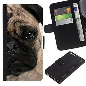 KLONGSHOP // Tirón de la caja Cartera de cuero con ranuras para tarjetas - Pug Cachorro Cara arrugada ojo perro Hocico - Apple Iphone 6 PLUS 5.5 //