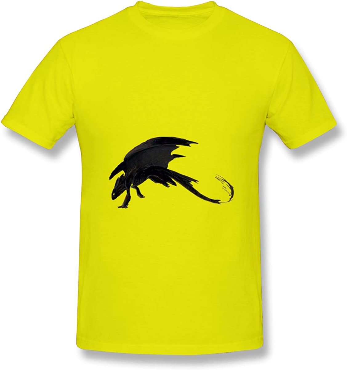 Zhenzhan Mens Hand-Painted Black Dragon Casual T Shirts Short Sleeve Athletic Tees Tops