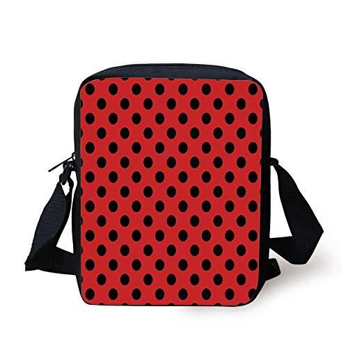 Red and Black,Retro Vintage Pop Art Theme Old 60s 50s Rocker Inspired Bold Polka Dots Image,Scarlet Print Kids Crossbody Messenger Bag Purse