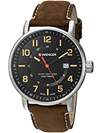 Men's 'Attitude Outdoor' Swiss Quartz Stainless Steel and Leather Casual Watch, Color:Brown (Model: 01.0341.108)