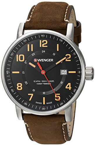 Wenger-Mens-Attitude-Outdoor-Swiss-Quartz-Stainless-Steel-and-Leather-Casual-Watch-ColorBrown-Model-010341108