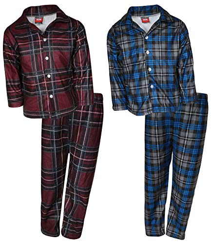 Flannel Coat Style Pajamas - 'Mac Henry Boys Plaid Flannel Pajama Sleepwear Sets (2 Full Sets) (12-14, Burgundy Plaid/Grey Plaid)'