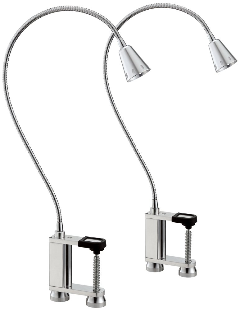Nickolas Brushed Steel LED Clamp-On Barbecue Light Set of 2