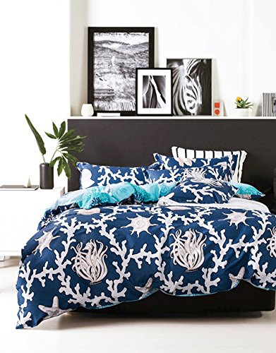 Mumgo Home Textile Duvet Cover Set 100% Cotton for Adult Kids Underwater World Coral Seahorse sea Snail Duvet Bedding Sets 4 Piece - Not Include Comforter (King Size, Color-2) by Mumgo