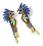 MISASHA Women Fashion Rhinestone Tropical Parrot Bird Holiday Dangle Earrings